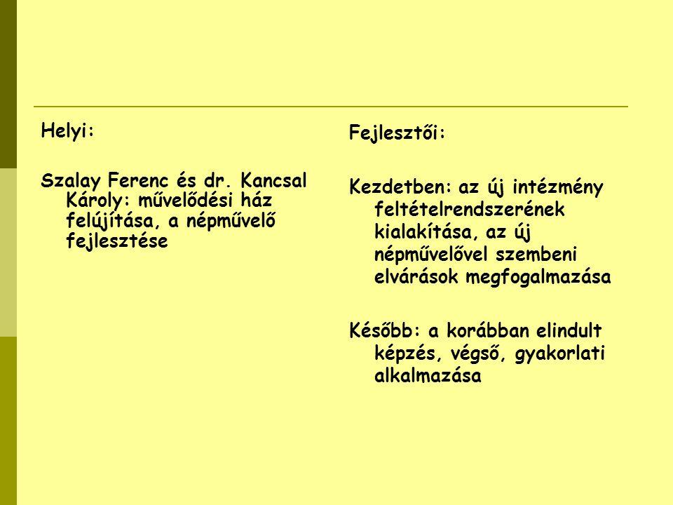 Helyi: Szalay Ferenc és dr. Kancsal Károly: művelődési ház felújítása, a népművelő fejlesztése Fejlesztői: Kezdetben: az új intézmény feltételrendszer