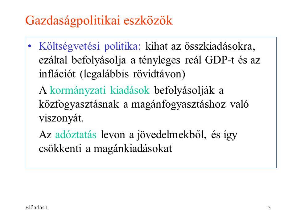 Előadás 15 Gazdaságpolitikai eszközök •Költségvetési politika: kihat az összkiadásokra, ezáltal befolyásolja a tényleges reál GDP-t és az inflációt (l