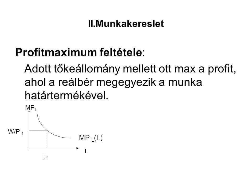 II.Munkakereslet Profitmaximum feltétele: Adott tőkeállomány mellett ott max a profit, ahol a reálbér megegyezik a munka határtermékével. MP L (L) L M