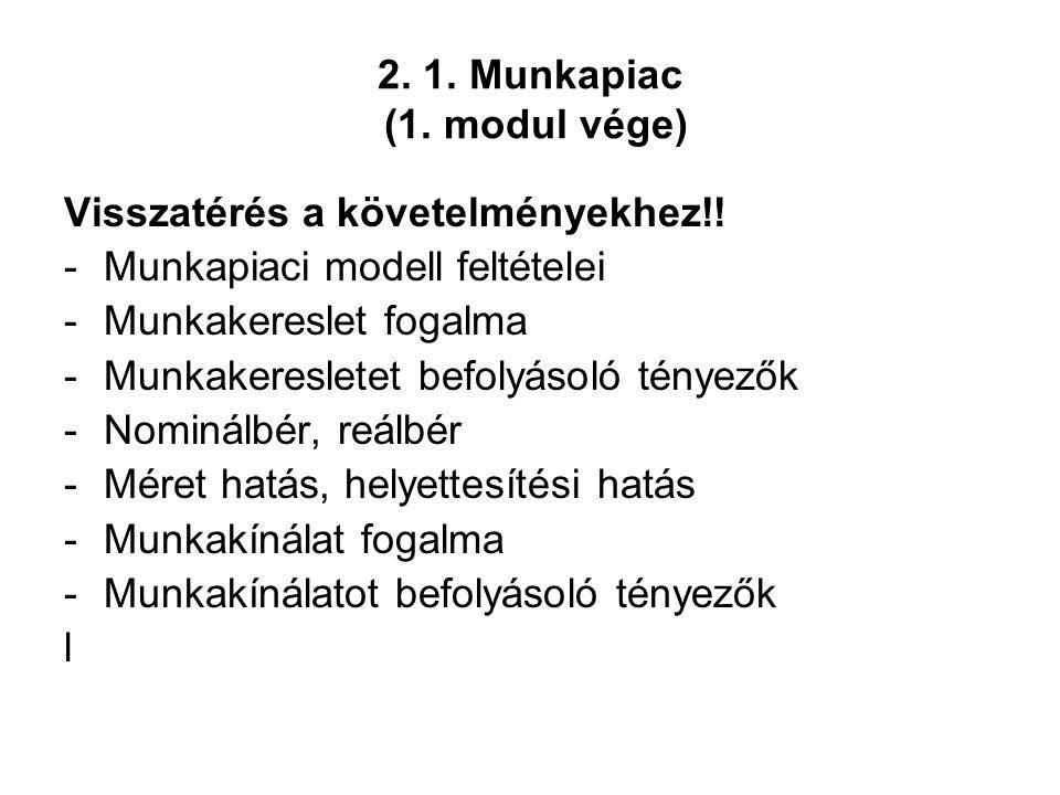 2. 1. Munkapiac (1. modul vége) Visszatérés a követelményekhez!! -Munkapiaci modell feltételei -Munkakereslet fogalma -Munkakeresletet befolyásoló tén