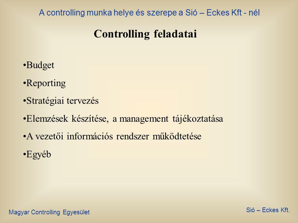 A controlling munka helye és szerepe a Sió – Eckes Kft - nél Magyar Controlling Egyesület Sió – Eckes Kft. Controlling helye a szervezetben Ügyvezető