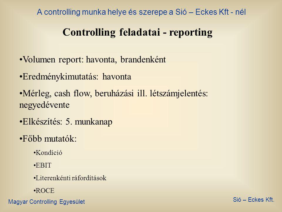 A controlling munka helye és szerepe a Sió – Eckes Kft - nél Magyar Controlling Egyesület Sió – Eckes Kft. Controlling feladatai - budget •Készítése: