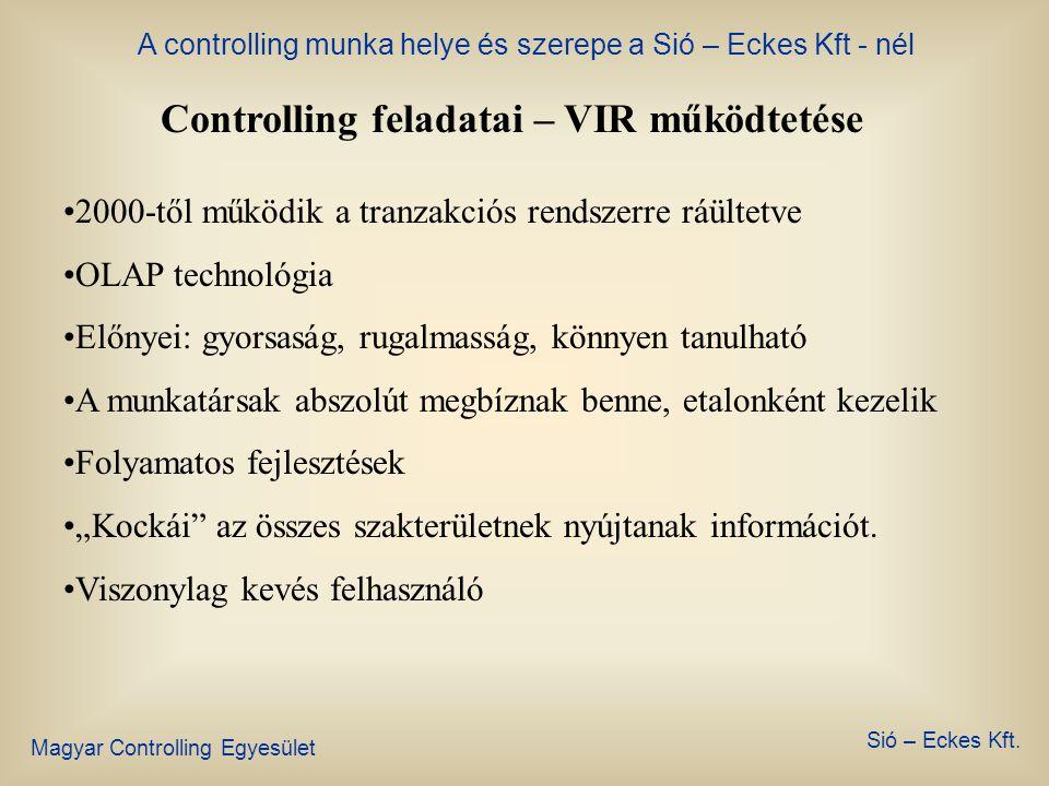 A controlling munka helye és szerepe a Sió – Eckes Kft - nél Magyar Controlling Egyesület Sió – Eckes Kft. Controlling feladatai – management tájékozt