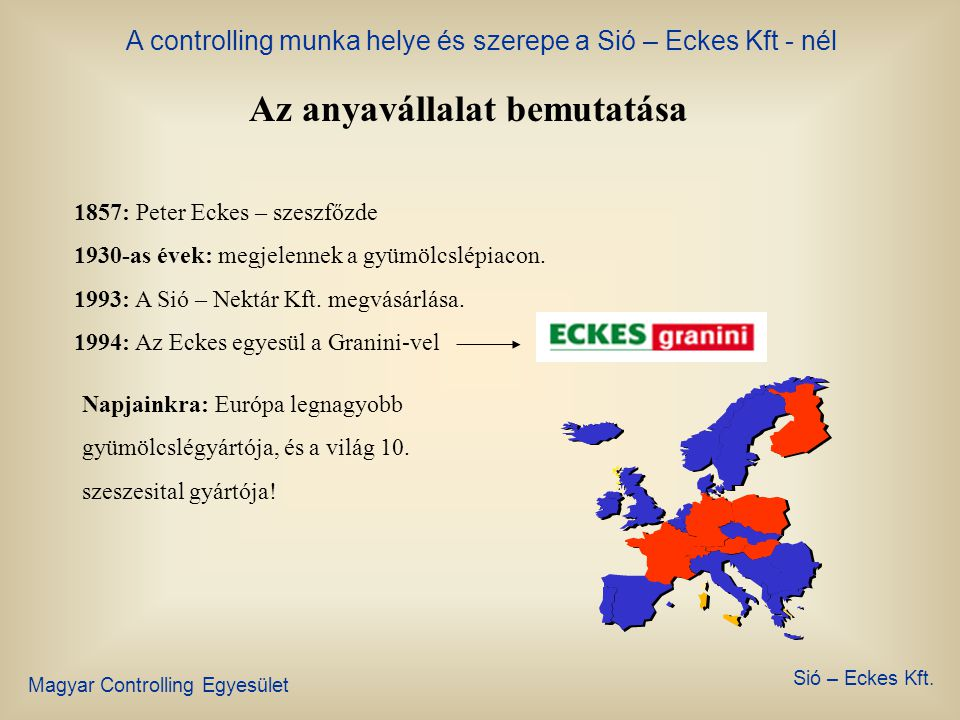 A controlling munka helye és szerepe a Sió – Eckes Kft - nél Magyar Controlling Egyesület Sió – Eckes Kft. Sió – Eckes történelem 1977: Az első Sió ge