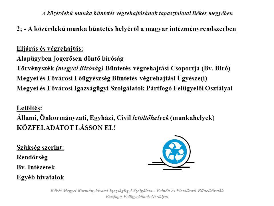 A közérdekű munka büntetés végrehajtásának tapasztalatai Békés megyében 3; - A közérdekű munka büntetés helyéről a magyar jogrendszerben 1998.