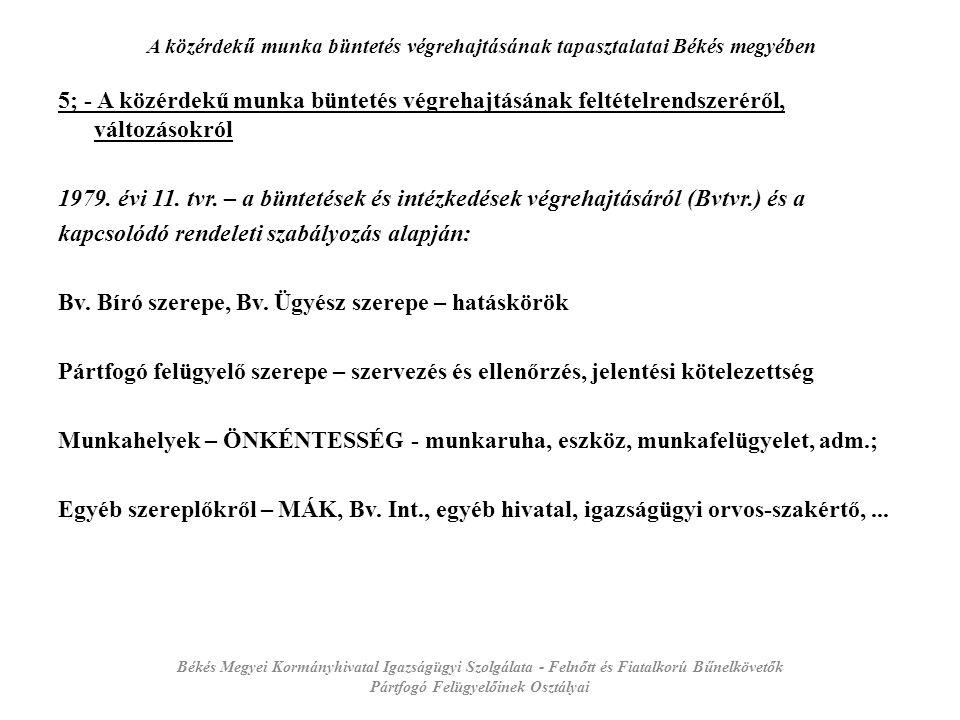 A közérdekű munka büntetés végrehajtásának tapasztalatai Békés megyében 5; - A közérdekű munka büntetés végrehajtásának feltételrendszeréről, változásokról 1979.