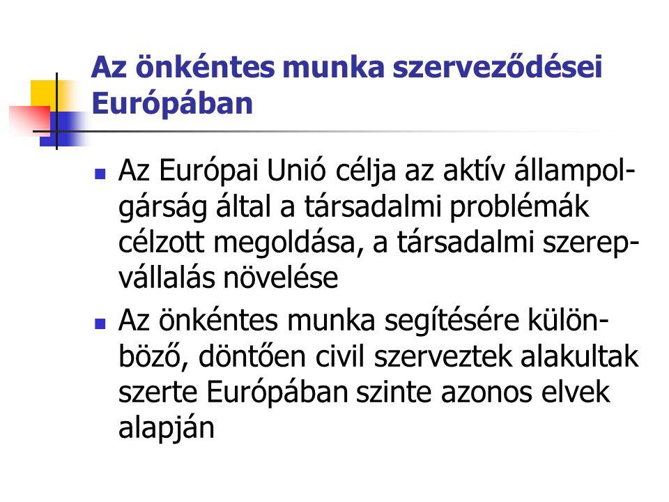 Az önkéntes munka szerveződései Európában  Az Európai Unió célja az aktív állampol- gárság által a társadalmi problémák célzott megoldása, a társadal