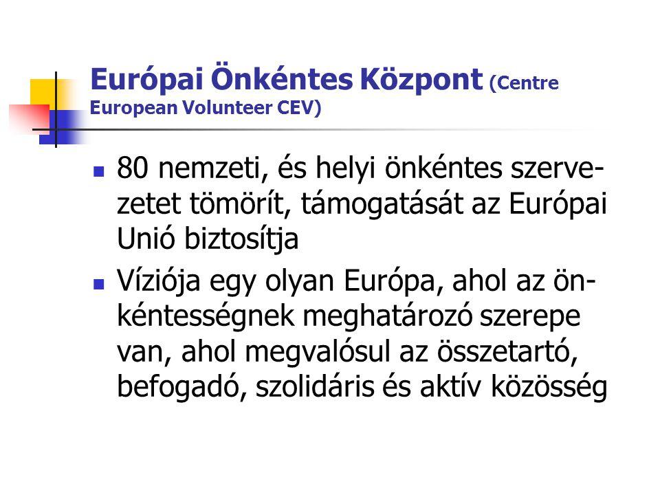 Európai Önkéntes Központ (Centre European Volunteer CEV)  80 nemzeti, és helyi önkéntes szerve- zetet tömörít, támogatását az Európai Unió biztosítja