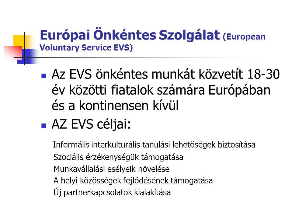 Európai Önkéntes Szolgálat (European Voluntary Service EVS)  Az EVS önkéntes munkát közvetít 18-30 év közötti fiatalok számára Európában és a kontine