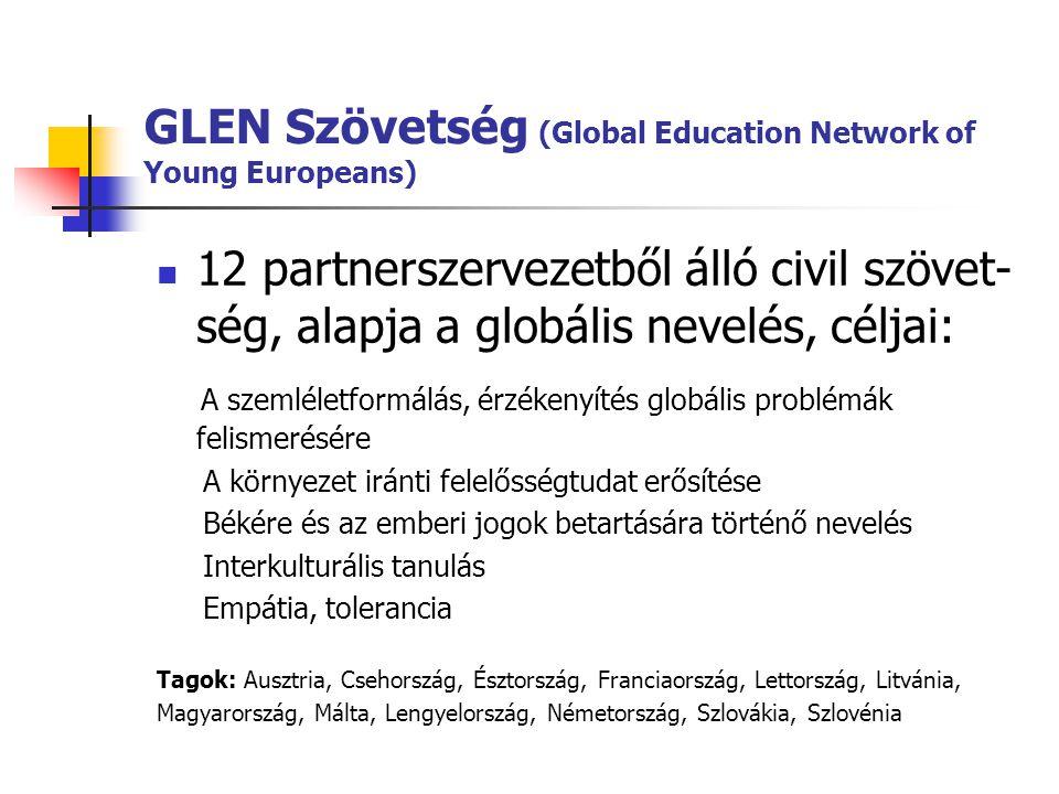 GLEN Szövetség (Global Education Network of Young Europeans)  12 partnerszervezetből álló civil szövet- ség, alapja a globális nevelés, céljai: A sze