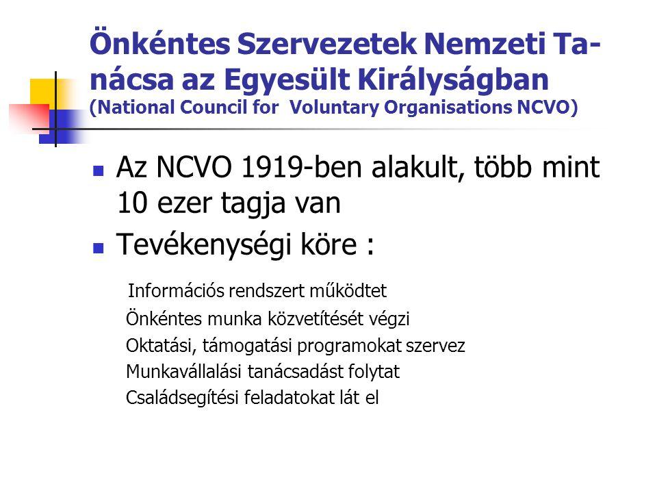 Önkéntes Szervezetek Nemzeti Ta- nácsa az Egyesült Királyságban (National Council for Voluntary Organisations NCVO)  Az NCVO 1919-ben alakult, több m