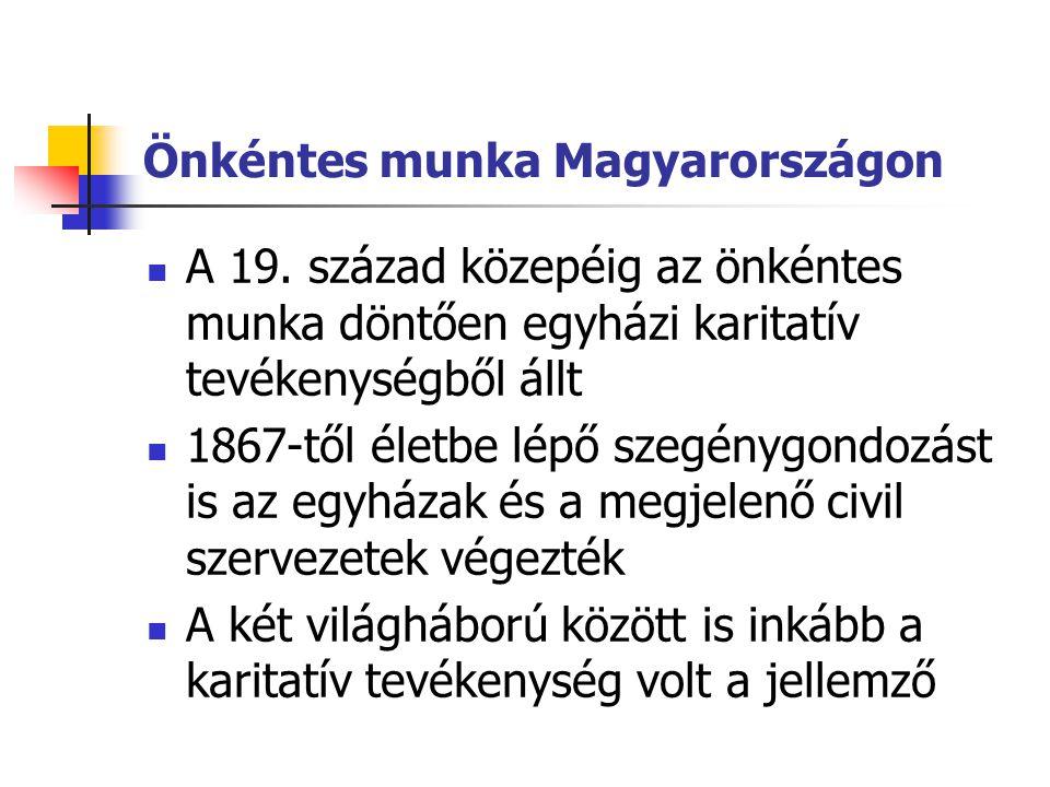 Önkéntes munka Magyarországon  A 19. század közepéig az önkéntes munka döntően egyházi karitatív tevékenységből állt  1867-től életbe lépő szegénygo