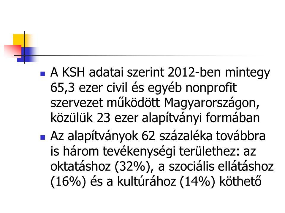  A KSH adatai szerint 2012-ben mintegy 65,3 ezer civil és egyéb nonprofit szervezet működött Magyarországon, közülük 23 ezer alapítványi formában  A