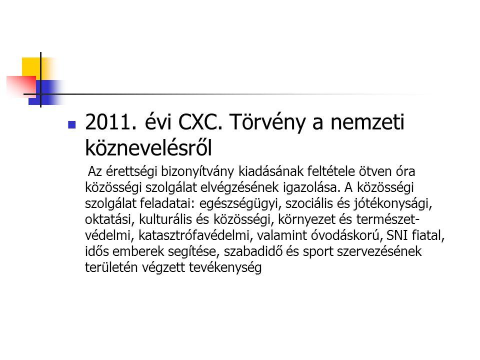  2011. évi CXC. Törvény a nemzeti köznevelésről Az érettségi bizonyítvány kiadásának feltétele ötven óra közösségi szolgálat elvégzésének igazolása.