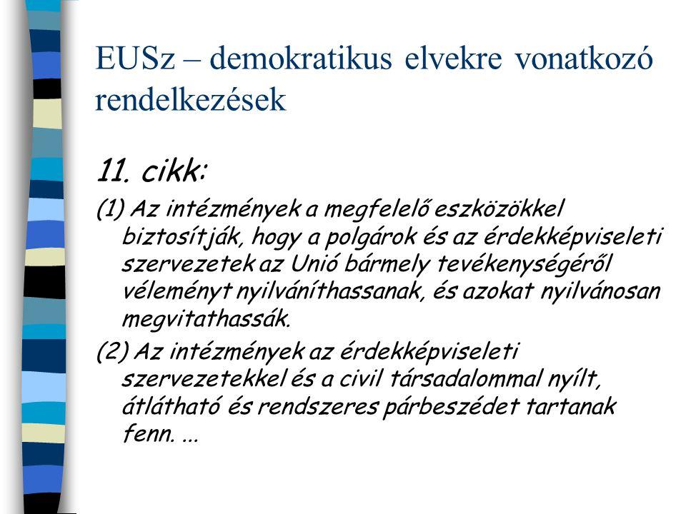 EUSz – demokratikus elvekre vonatkozó rendelkezések 11.