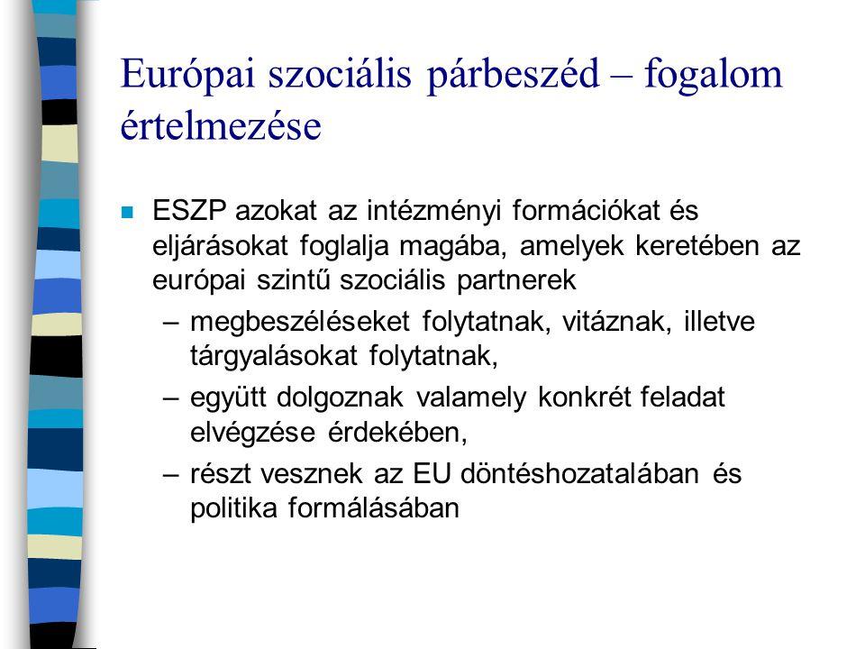 Európai szociális párbeszéd – fogalom értelmezése n ESZP azokat az intézményi formációkat és eljárásokat foglalja magába, amelyek keretében az európai szintű szociális partnerek –megbeszéléseket folytatnak, vitáznak, illetve tárgyalásokat folytatnak, –együtt dolgoznak valamely konkrét feladat elvégzése érdekében, –részt vesznek az EU döntéshozatalában és politika formálásában