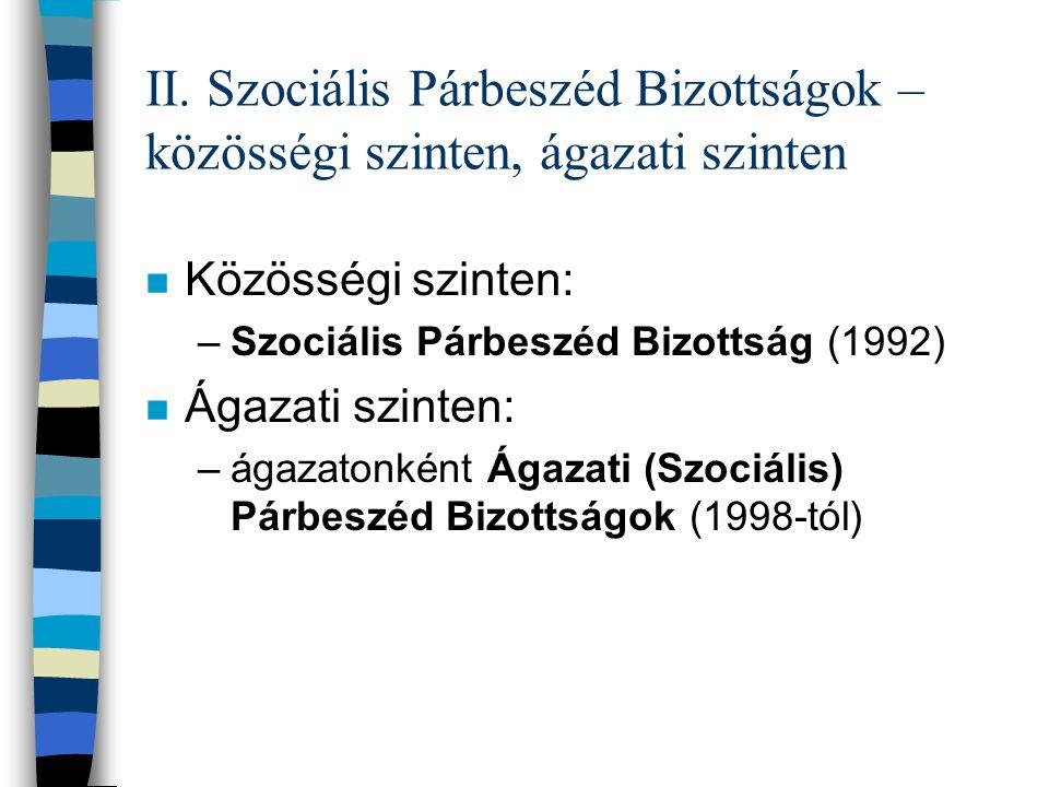 Közösségi szintű Szociális Párbeszéd Bizottság (1992) n Bipartit struktúra (32 fős delegációk) n Magyar szakszervezeti részvétel: –személyesen: ETUC döntése, kíválasztása alapján –ETUC/Eurocadres/CEC tagszervezeteként – képviseleti demokrácia szabályai szerint ETUC A delegáció tagjaként vesz részt a Eurocadres és a CEC BusinessEurope CEEP UEAPME