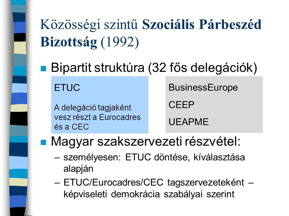 Közösségi szintű Szociális Párbeszéd Bizottság (1992) n Alapvetően bipartit együttműködés –saját kezdeményezésük alapján bármely olyan témát megvitathatnak, amely a közös hatáskörükbe, kompetenciájukba tartozik (közös állásfoglalás, közös vélemény) –ezekben a témákban, saját kezdeményezésük alapján tárgyal(hat)nak és megállapodhatnak, –nyomonkövetik a megállapodásaik tagállami érvényesülését –közösen végez(het)nek el feladatokat (pl.
