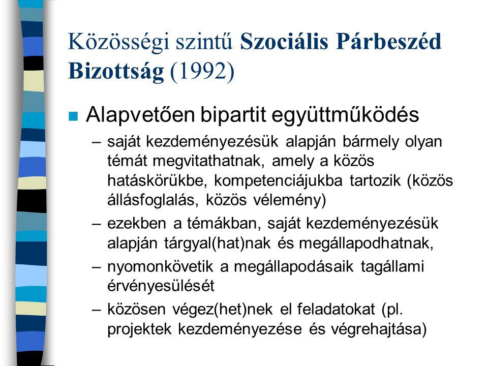 Közösségi szintű Szociális Párbeszéd Bizottság (1992) n Tripartit konzultáció – másodlagos funkció n Évente 3-4 ülés, munkacsoportok n Legutolsó tárgyalás: fiatalok foglalkoztatásáról szóló ún.