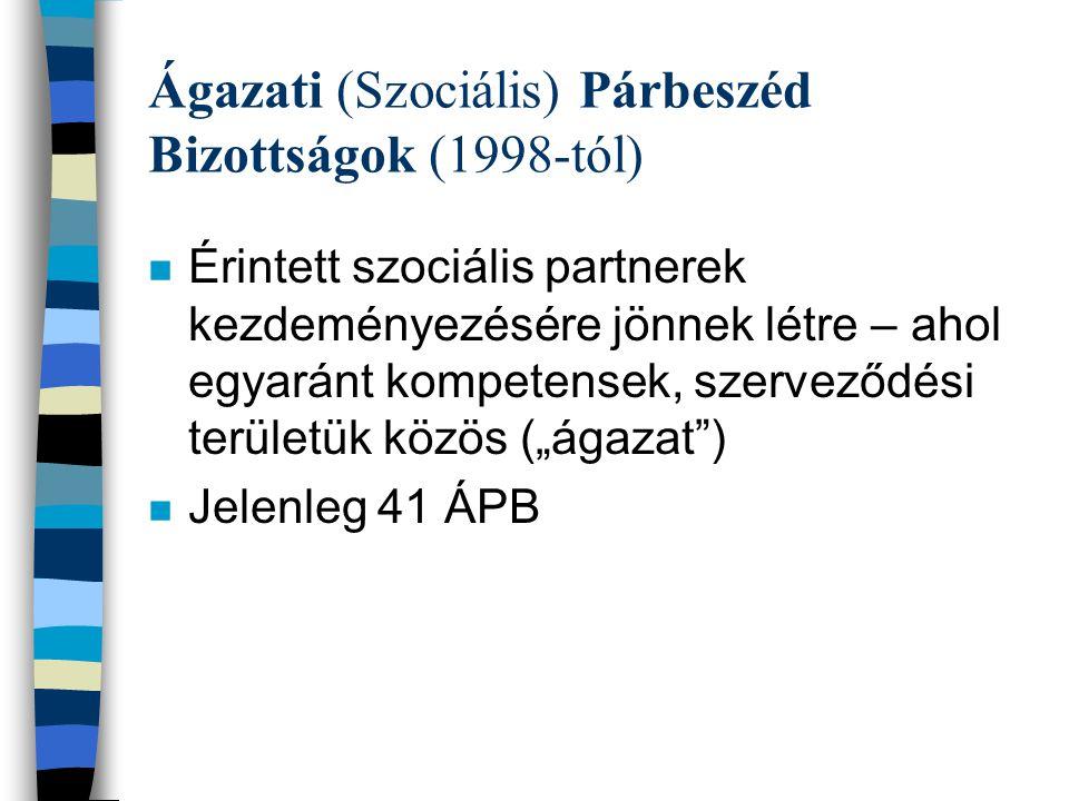 """Ágazati (Szociális) Párbeszéd Bizottságok (1998-tól) n Érintett szociális partnerek kezdeményezésére jönnek létre – ahol egyaránt kompetensek, szerveződési területük közös (""""ágazat ) n Jelenleg 41 ÁPB"""