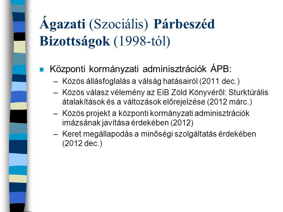 Ágazati (Szociális) Párbeszéd Bizottságok (1998-tól) n Kórházak és egészségügyi ellátás ÁPB: –Cselekvési keret a munkaerőutánpótlásról és a munkaerő megtartásáról (2010 dec.) –Közös vélemény az EU egészségügyi munkavállalókról szóló akció tervéről (2012 szept.) n Oktatás ÁPB: –Közös vélemény az oktatástól, képzésről és kutatásról: Beruházás a jövőbe (2011 jan.) –Közös projekt a tanárok utánpótlása és megtartása érdekében (2011), ajánlások (2012 nov.) n Több ÁPB közösen: –Ajánlások a harmadik fél általi munkahelyi erőszak és zaklatás témában (2010 szept.)