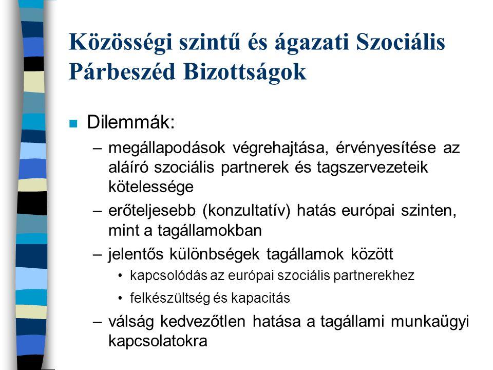 Közösségi szintű és ágazati Szociális Párbeszéd Bizottságok n Dilemmák: –megállapodások végrehajtása, érvényesítése az aláíró szociális partnerek és tagszervezeteik kötelessége –erőteljesebb (konzultatív) hatás európai szinten, mint a tagállamokban –jelentős különbségek tagállamok között •kapcsolódás az európai szociális partnerekhez •felkészültség és kapacitás –válság kedvezőtlen hatása a tagállami munkaügyi kapcsolatokra