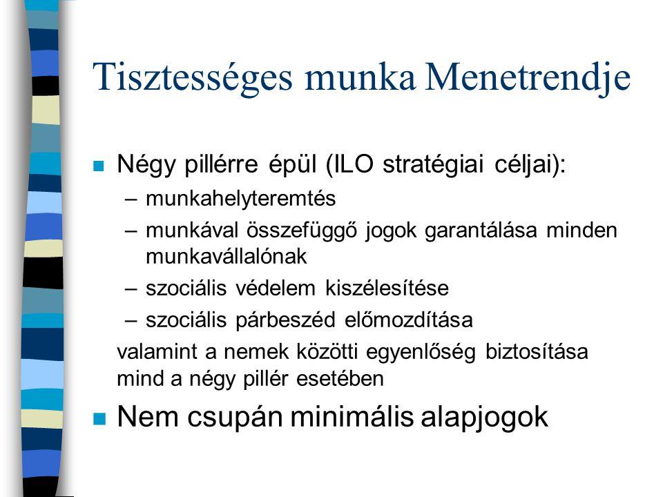 Tisztességes munka Menetrendje n Négy pillérre épül (ILO stratégiai céljai): –munkahelyteremtés –munkával összefüggő jogok garantálása minden munkavállalónak –szociális védelem kiszélesítése –szociális párbeszéd előmozdítása valamint a nemek közötti egyenlőség biztosítása mind a négy pillér esetében n Nem csupán minimális alapjogok