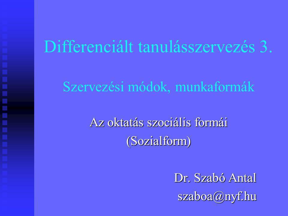 Differenciált tanulásszervezés 3.