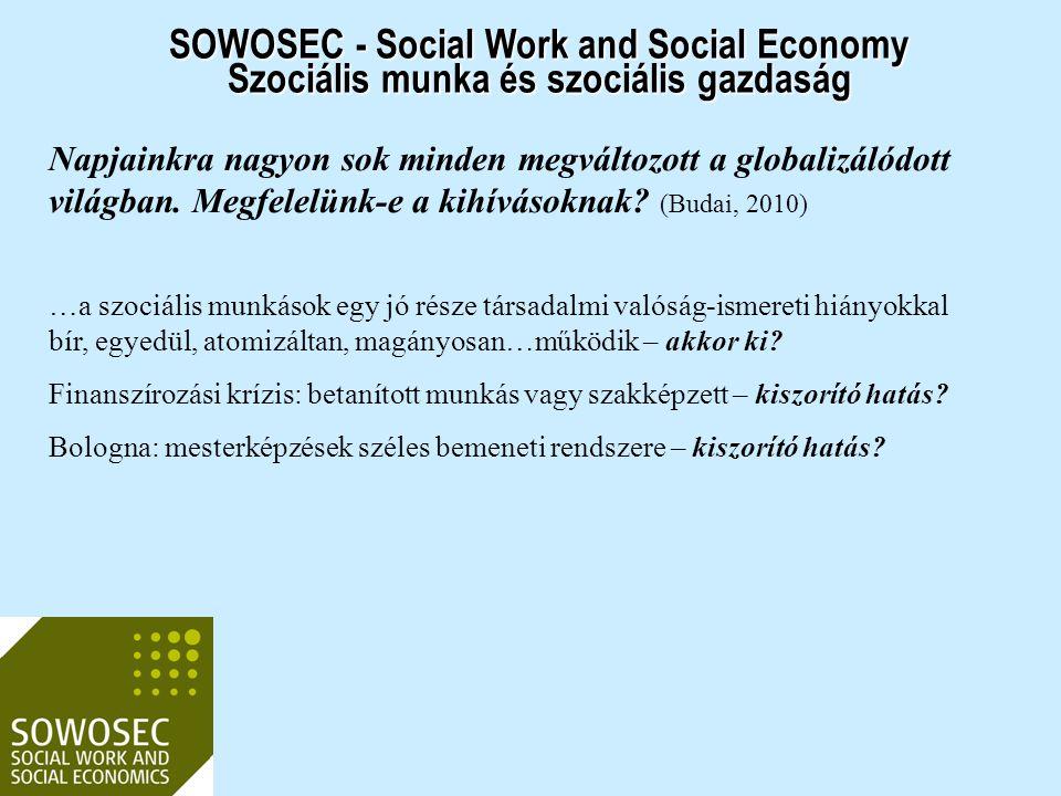 SOWOSEC - Social Work and Social Economy Szociális munka és szociális gazdaság Napjainkra nagyon sok minden megváltozott a globalizálódott világban. M