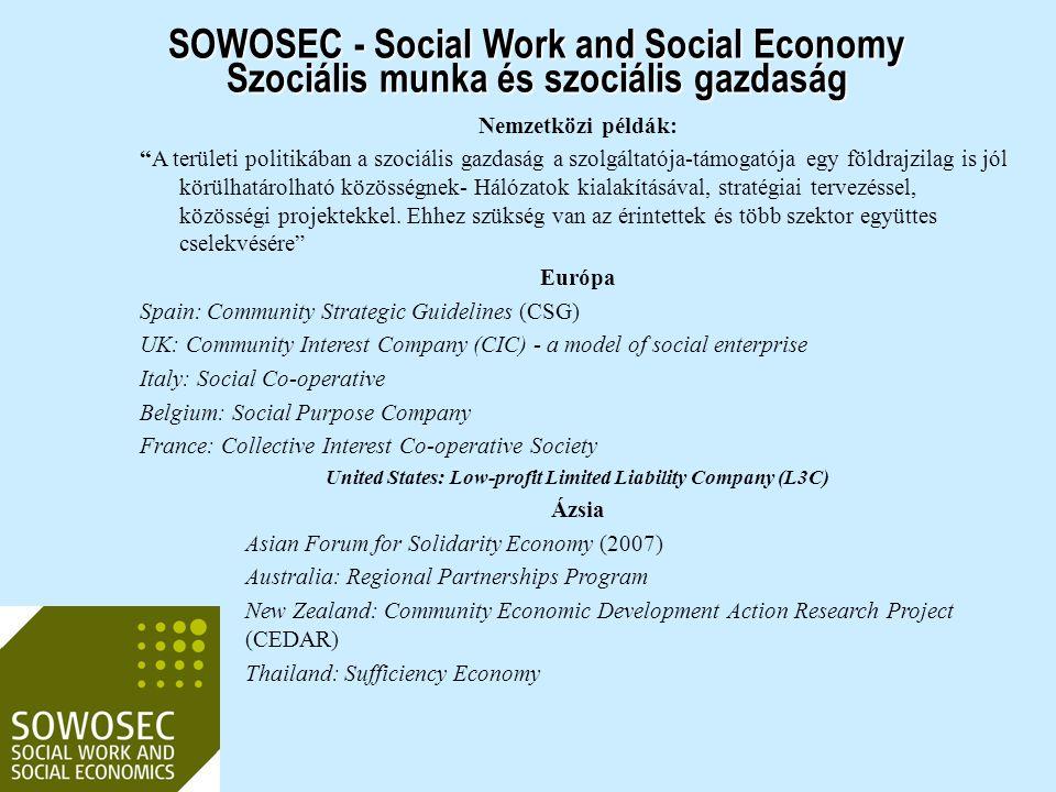 """Nemzetközi példák: """"A területi politikában a szociális gazdaság a szolgáltatója-támogatója egy földrajzilag is jól körülhatárolható közösségnek- Hálóz"""