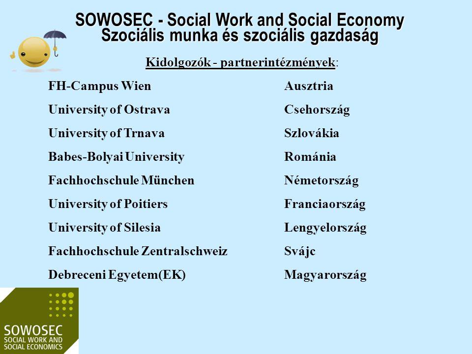 SOWOSEC - Social Work and Social Economy Szociális munka és szociális gazdaság Kidolgozók - partnerintézmények Kidolgozók - partnerintézmények: FH-Cam