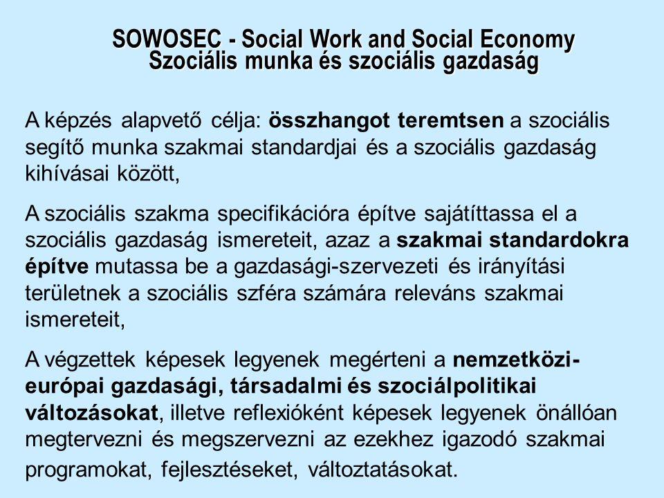 SOWOSEC - Social Work and Social Economy Szociális munka és szociális gazdaság A képzés alapvető célja: összhangot teremtsen a szociális segítő munka