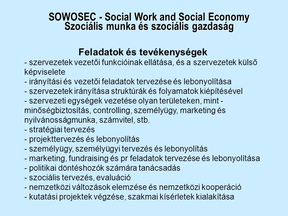 SOWOSEC - Social Work and Social Economy Szociális munka és szociális gazdaság Feladatok és tevékenységek - szervezetek vezetői funkcióinak ellátása,