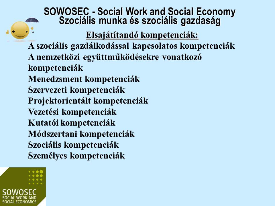 SOWOSEC - Social Work and Social Economy Szociális munka és szociális gazdaság Elsajátítandó kompetenciák: A szociális gazdálkodással kapcsolatos komp