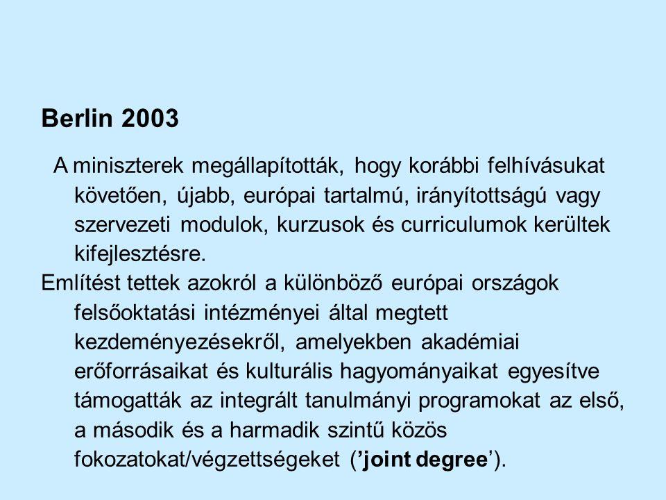 Berlin 2003 A miniszterek megállapították, hogy korábbi felhívásukat követően, újabb, európai tartalmú, irányítottságú vagy szervezeti modulok, kurzus