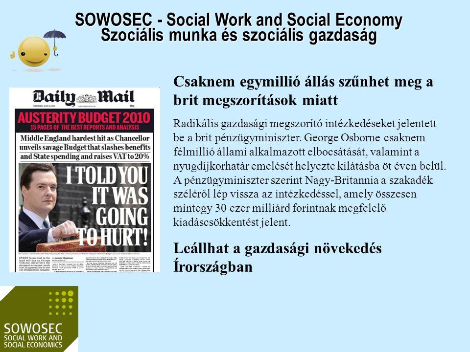 SOWOSEC - Social Work and Social Economy Szociális munka és szociális gazdaság Európai előírások: 30 kredit nemzetközi szinten teljesítendő Erre több lehetőség is van - Erasmus-Socrates ösztöndíjak 10 kredites nemzetközi gyakorlat Diplomamunka 20 kredit (Első közös pályázat 2005-ben sikertelen volt a program 2006- ban indult, a képzés Magyarországon 2011-ben)