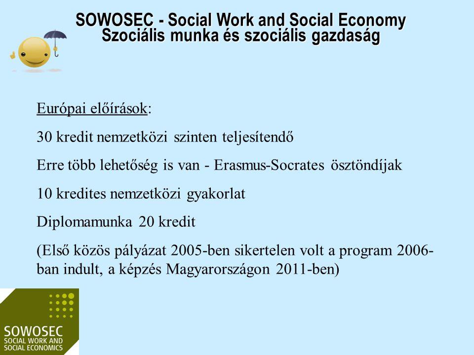SOWOSEC - Social Work and Social Economy Szociális munka és szociális gazdaság Európai előírások: 30 kredit nemzetközi szinten teljesítendő Erre több