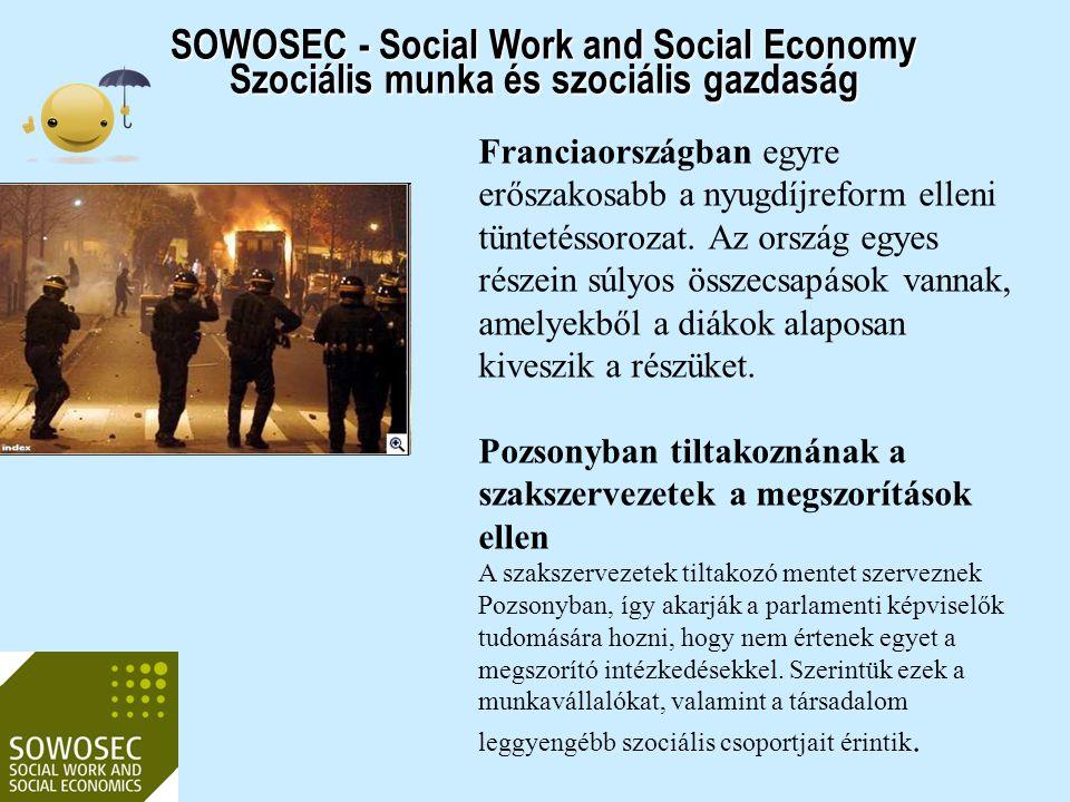 """SOWOSEC - Social Work and Social Economy Szociális munka és szociális gazdaság """"Magad uram, ha gazdád nincs Új MA kidolgozása a szociális gazdaság területén – nemzetközi együttműködésben MA: alapképzésben nincs idő-először szociális munkás legyen"""