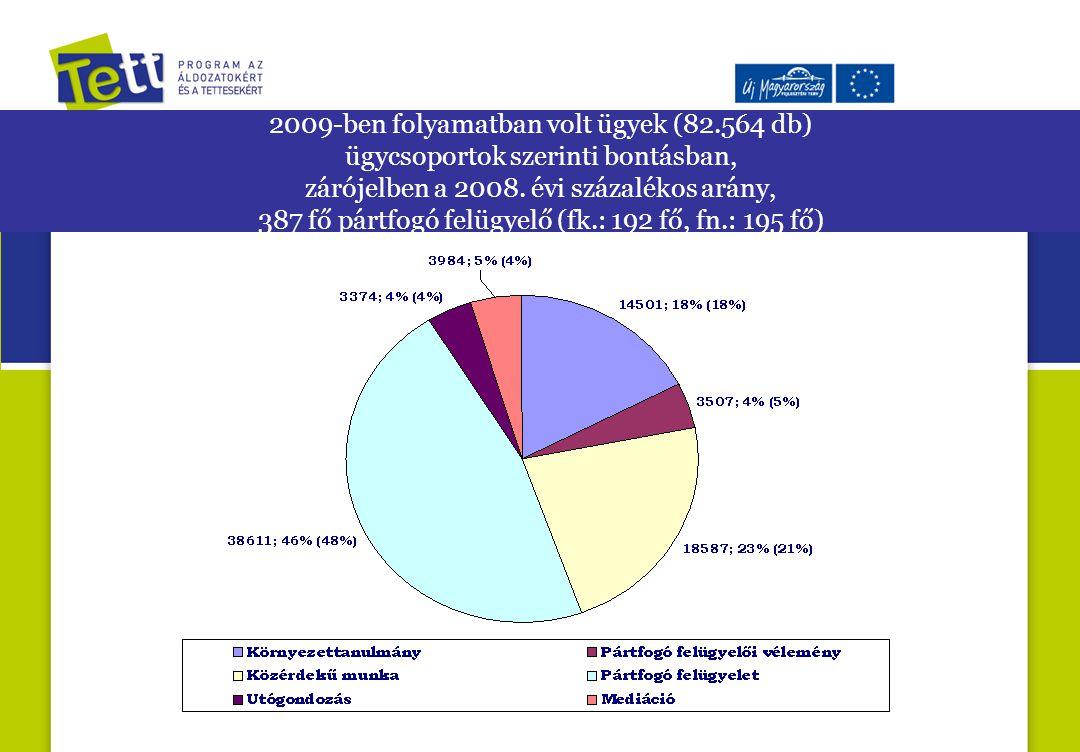 2009-ben folyamatban volt ügyek (82.564 db) ügycsoportok szerinti bontásban, zárójelben a 2008.