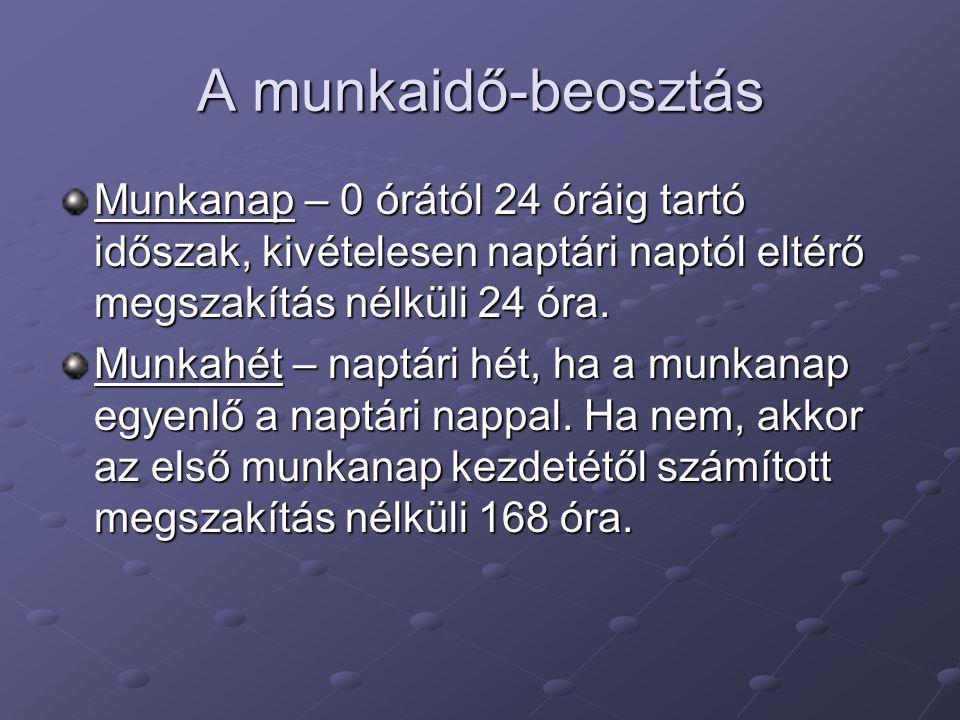 A munkaidő-beosztás Munkanap – 0 órától 24 óráig tartó időszak, kivételesen naptári naptól eltérő megszakítás nélküli 24 óra. Munkahét – naptári hét,