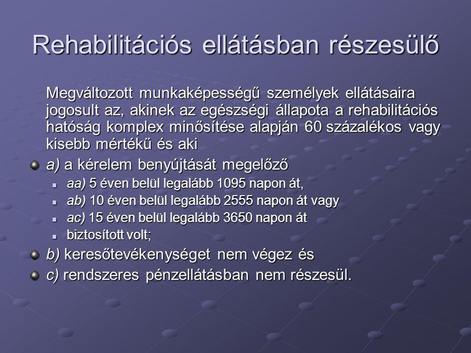 Rehabilitációs ellátásban részesülő Megváltozott munkaképességű személyek ellátásaira jogosult az, akinek az egészségi állapota a rehabilitációs hatós