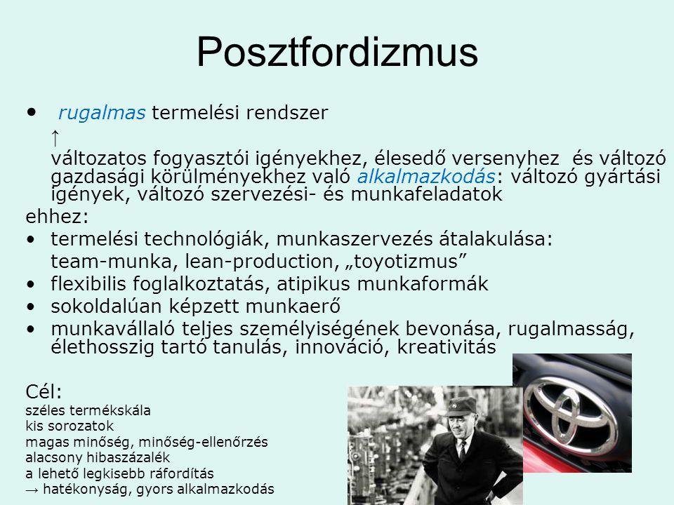 """Posztfordizmus • rugalmas termelési rendszer ↑ változatos fogyasztói igényekhez, élesedő versenyhez és változó gazdasági körülményekhez való alkalmazkodás: változó gyártási igények, változó szervezési- és munkafeladatok ehhez: •termelési technológiák, munkaszervezés átalakulása: team-munka, lean-production, """"toyotizmus •flexibilis foglalkoztatás, atipikus munkaformák •sokoldalúan képzett munkaerő •munkavállaló teljes személyiségének bevonása, rugalmasság, élethosszig tartó tanulás, innováció, kreativitás Cél: széles termékskála kis sorozatok magas minőség, minőség-ellenőrzés alacsony hibaszázalék a lehető legkisebb ráfordítás → hatékonyság, gyors alkalmazkodás"""