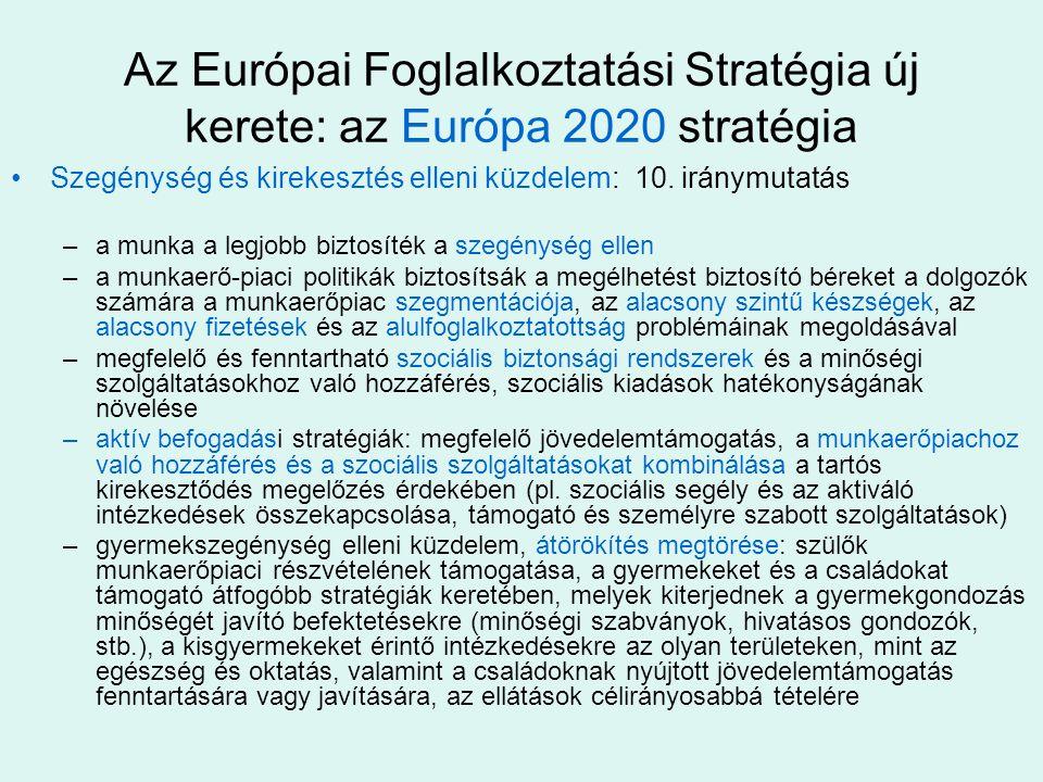 Az Európai Foglalkoztatási Stratégia új kerete: az Európa 2020 stratégia •Szegénység és kirekesztés elleni küzdelem: 10.