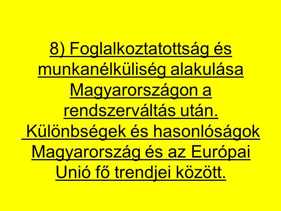 8) Foglalkoztatottság és munkanélküliség alakulása Magyarországon a rendszerváltás után.