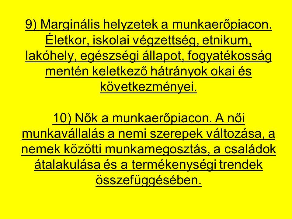 9) Marginális helyzetek a munkaerőpiacon.
