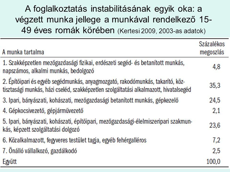 A foglalkoztatás instabilitásának egyik oka: a végzett munka jellege a munkával rendelkező 15- 49 éves romák körében (Kertesi 2009, 2003-as adatok)