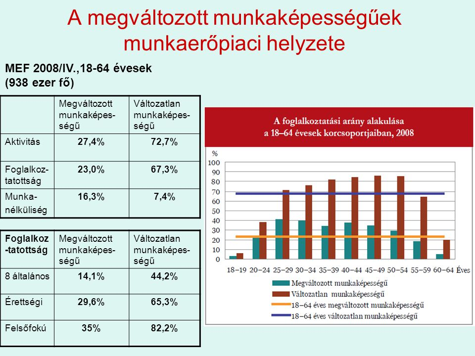 A megváltozott munkaképességűek munkaerőpiaci helyzete Megváltozott munkaképes- ségű Változatlan munkaképes- ségű Aktivitás27,4%72,7% Foglalkoz- tatottság 23,0%67,3% Munka- nélküliség 16,3%7,4% MEF 2008/IV.,18-64 évesek (938 ezer fő) Foglalkoz -tatottság Megváltozott munkaképes- ségű Változatlan munkaképes- ségű 8 általános14,1%44,2% Érettségi29,6%65,3% Felsőfokú35%82,2%