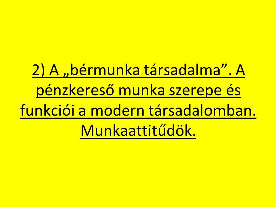 """2) A """"bérmunka társadalma .A pénzkereső munka szerepe és funkciói a modern társadalomban."""