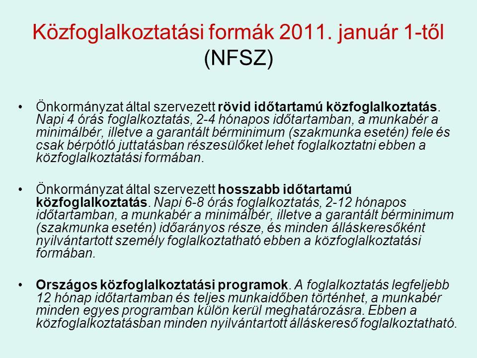Közfoglalkoztatási formák 2011.