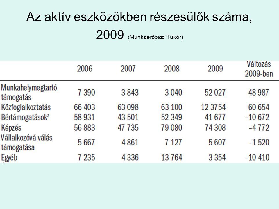 Az aktív eszközökben részesülők száma, 2009 (Munkaerőpiaci Tükör)